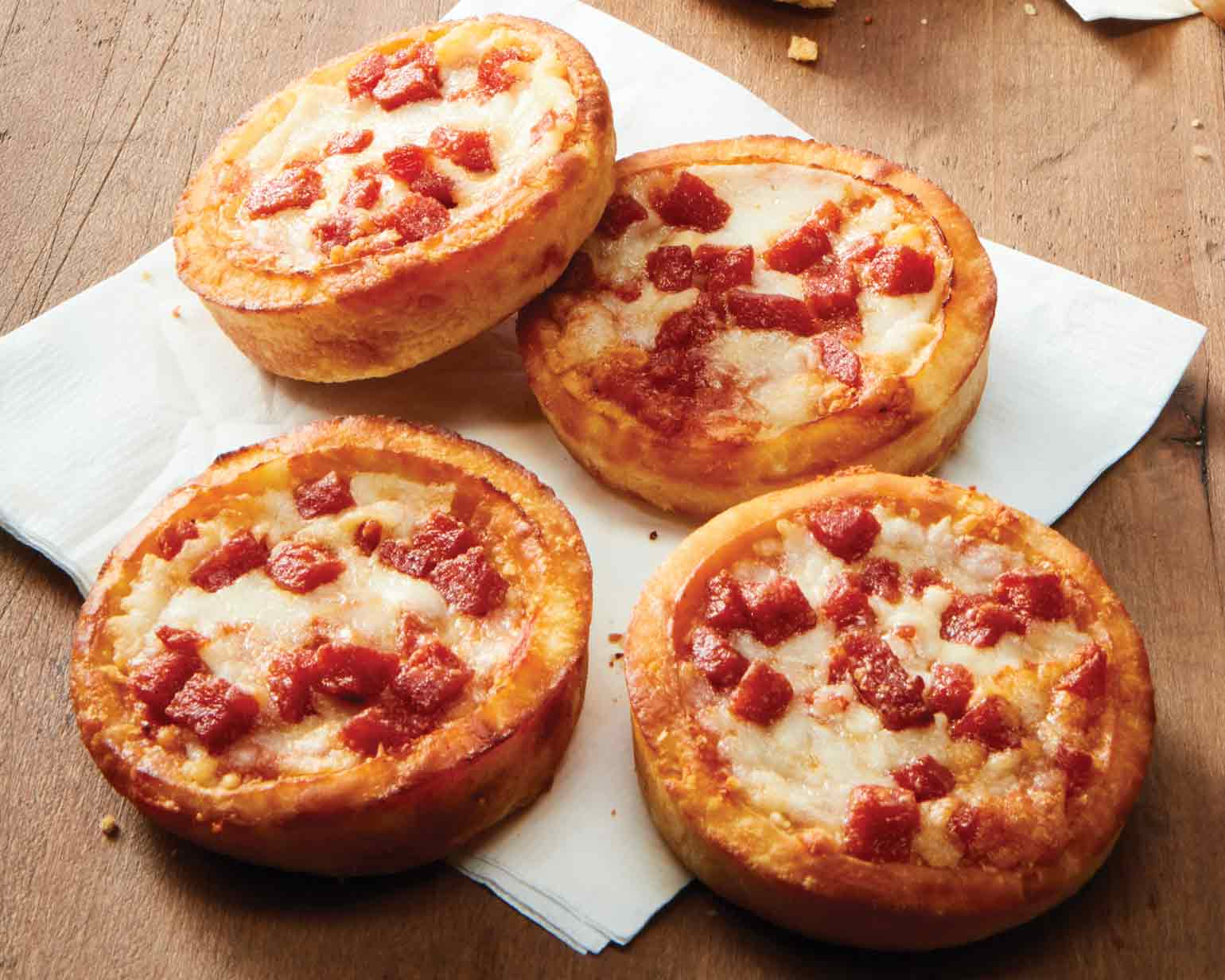 Mini Deep Dish Pepperoni Pizzas