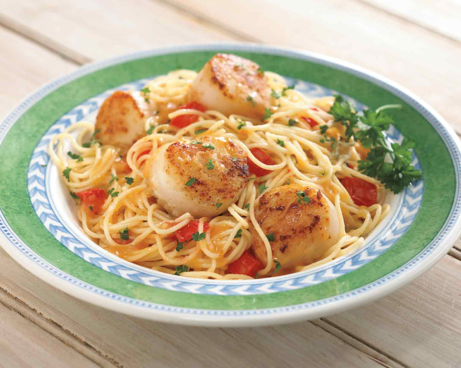 Scallops With Lemon White Wine Sauce And Pasta Schwan S